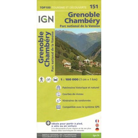 IGN 151 Grenoble, Chambéry 1:100 000