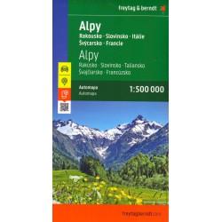 Freytag a Berndt Alpy 1:500 000 - Rakousko, Slovinsko, Itálie, Švýcarsko, Francie automapa