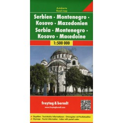 Freytag a Berndt Srbsko, Černá Hora, Kosovo, Makedonie 1:500 000 automapa