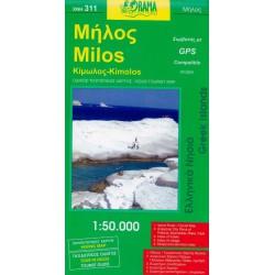 ORAMA 311 Milos, Kimolos 1:50 000 turistická mapa