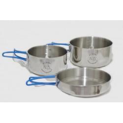 VAR (ALB Forming) Makalu nerezové kempingové nádobí třídílné - sada s transportním obalem
