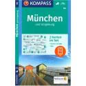 Kompass 184 München/Mnichov a okolí 1:50 000 turistická mapa