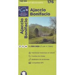 IGN 176 Ajaccio, Bonifacio, Korsika jih 1:100 000 turistická mapa