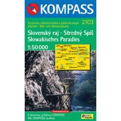 Kompass 2103 Slovenský ráj, Stredný Spiš 1:50 000 turistická mapa
