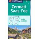 Kompass 117 Zermatt, Saas Fee 1:40 000 turistická mapa