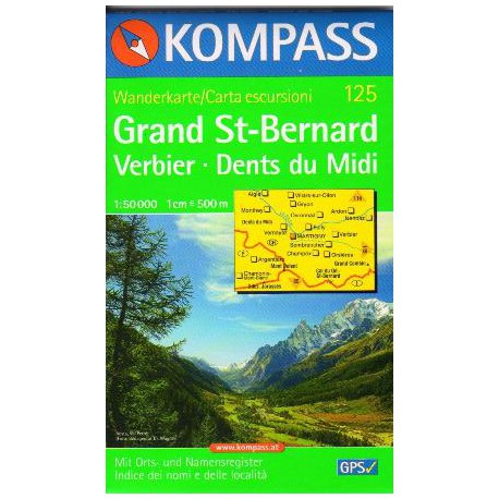 Kompass 125 Grand St. Bernard, Verbier, Dents du Midi 1:50 000