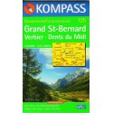 Kompass 125 Grand St. Bernard, Verbier, Dents du Midi 1:50 000 turistická mapa