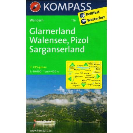 Kompass 126 Glarnerland, Walensee, Pizol, Sarganserland 1:40 000 turistická mapa