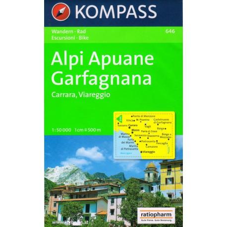 Kompass 646 Alpi Apuane, Garfagnana, Carrara, Viareggio 1:50 000