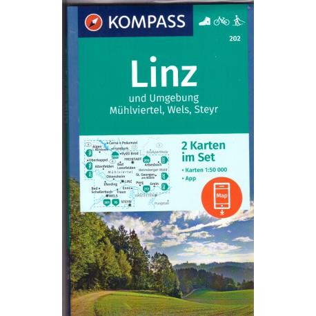 Kompass 202 Rund um Linz, Mühlviertel, Wels, Steyr 1:50 000