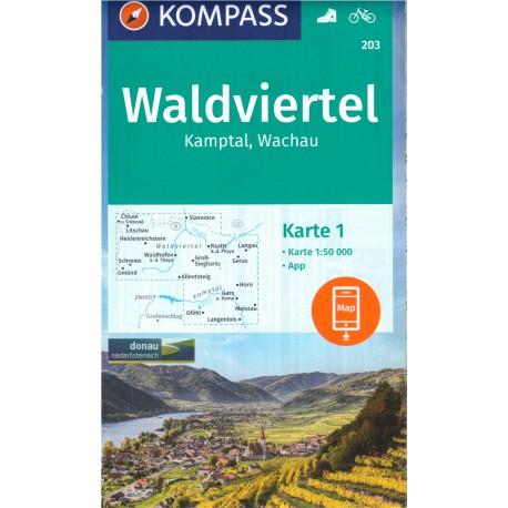 Kompass 203 Waldviertel, Kamptal, Wachau 1:50 000