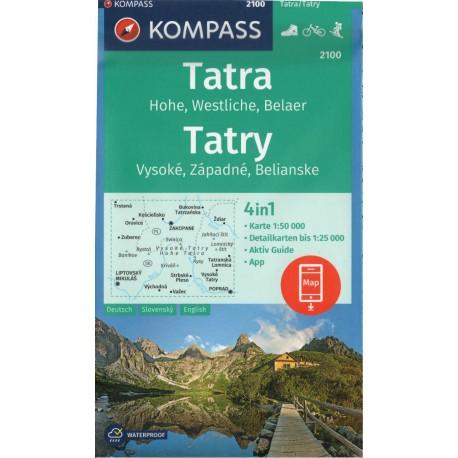 Kompass2100 Tatry Vysoké, Západné, Belianske 1:50 000