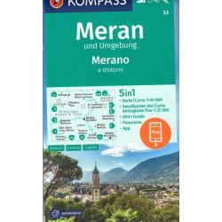 Kompass 53 Meran/Merano a okolí 1:50 000 turistická mapa
