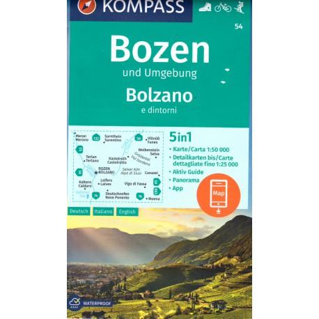 Kompass 54 Bozen/Bolzano 1:50 000