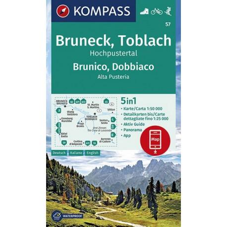 Kompass 57 Bruneck/Brunico, Toblach/Dobbiaco 1:50 000