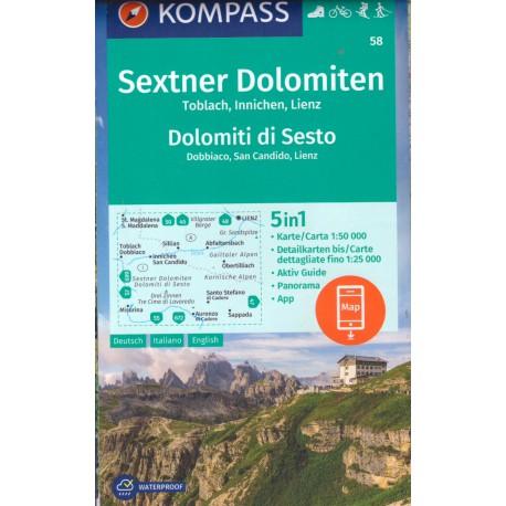 Kompass 58 Sextner Dolomiten/Dolomiti di Sesto 1:50 000