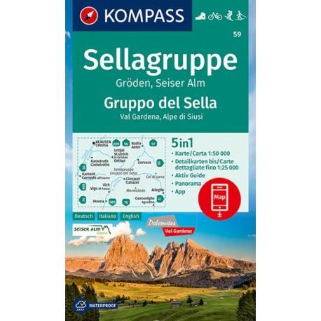Kompass 59 Sellagruppe/Gruppo di Sella, Gröden/Val Gardena 1:50 000