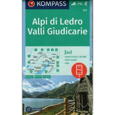 Kompass 071 Alpi di Ledro, Valli Giudicarie 1:50 000