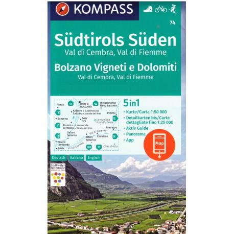 Kompass 74 Tramin/Termeno, Cavalese 1:50 000