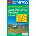 Kompass 74 Tramin/Termeno, Cavalese 1:50 000 turistická mapa