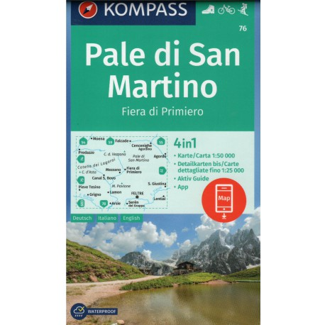 Kompass 76 Pale di San Martino 1:50 000