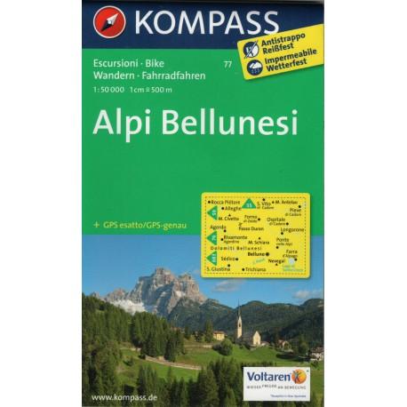 Kompass 77 Alpi Bellunesi 1:50 000