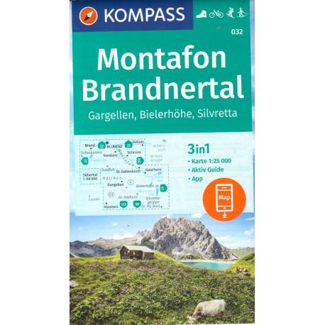 Kompass 032 Montafon, Gargellen, Bielerhöhe, Silvretta 1:25 000
