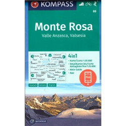 Kompass 88 Monte Rosa, Valle Anzasca, Valsesia 1:50 000 turistická mapa