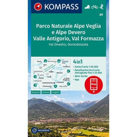 Kompass 89 NP Alpe Veglia, Alpe Devero, Valle Antigorio 1:50 000 turistická mapa
