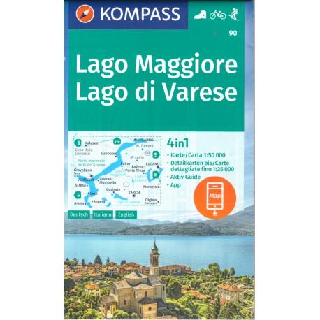 Kompass 90 Lago Maggiore, Lago di Varese 1:50 000