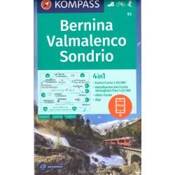 Kompass 93 Bernina, Valmalenco, Sondrio 1:50 000 turistická mapa