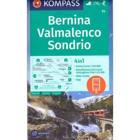 Kompass 93 Bernina, Sondrio 1:50 000