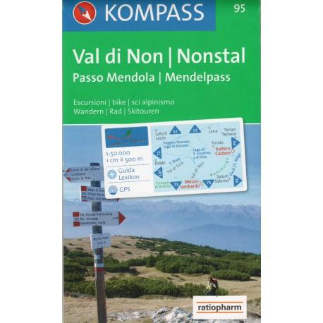 Kompass 95 Valle di Non/Nonstal, Brenta - Passo di Mendola/Mendelpass 1:50 000