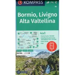 Kompass 96 Bormio, Livigno, Alta Valtellina 1:50 000 turistická mapa