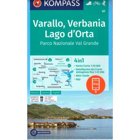 Kompass 97 Omegna, Varallo, Lago d' Orta 1:50 000