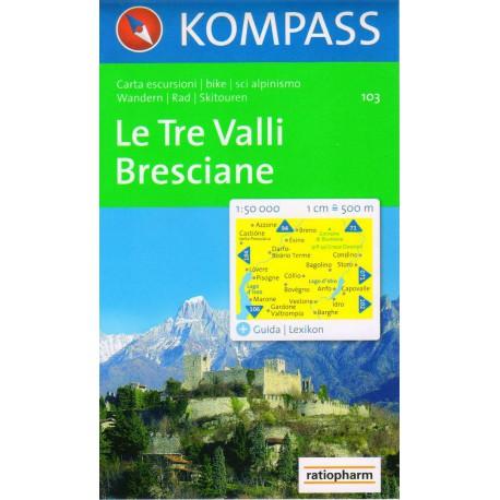 Kompass 103 Le Tre Valli, Bresciane 1:50 000