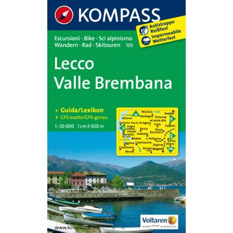 Kompass 105 Lecco, Valle Brembana 1:50 000