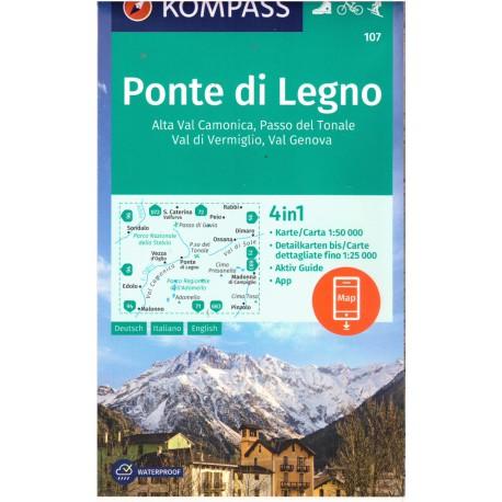 Kompass 107 Ponte di Legno, Alta Val Camonica, Passo del Tonale 1:50 000