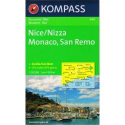 Kompass 640 Nice/Nizza, Monaco, San Remo 1:50 000 turistická mapa