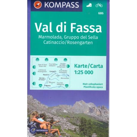 Kompass 686 Val di Fassa, Marmolada, Gruppo di Sella 1:25 000