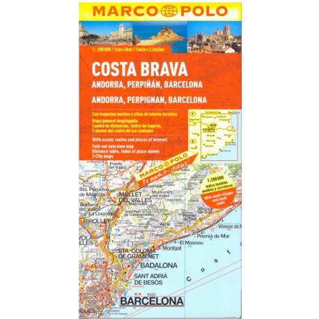 Marco Polo Costa Brava, Andorra, Perpigan, Barcelona 1:800 000 automapa