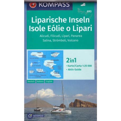 Kompass 693 Isole Eólie o Lipari/Liparské ostrovy 1:25 000 turistická mapa