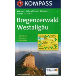 Kompass 2 Bregenzerwald, Westallgäu 1:50 000 turistická mapa