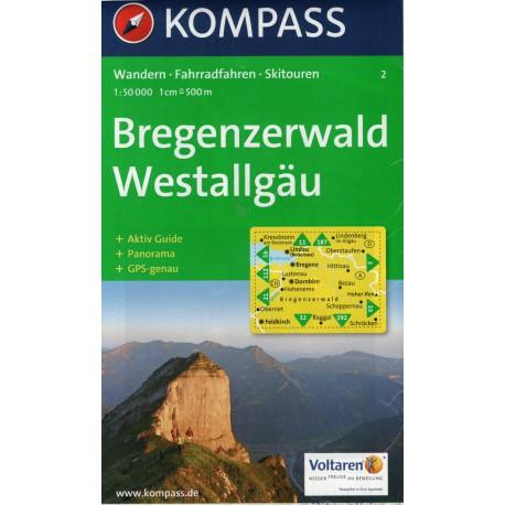Kompass 2 Bregenzerwald, Westallgäu 1:50 000
