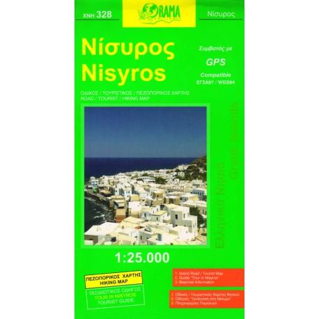 ORAMA 328 Nisyros 1:25 000 turistická mapa