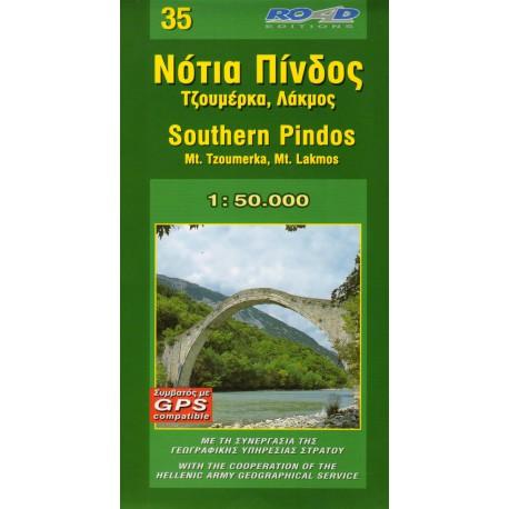 ORAMA 35 Southern Pindos, Mt. Tzoumerka, Mt. Lakmos 1:50 000 turistická mapa