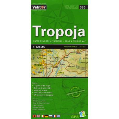 Vektor 385 Albánie Tropoja 1:120 000 automapa
