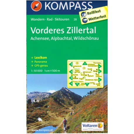 Kompass 28 Vorderes Zillertal, Alpbach, Rofan, Wildschönau 1:50 000