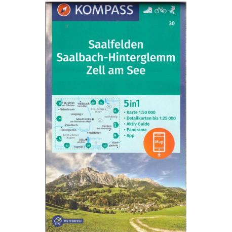 Kompass 30 Saalfelden, Saalbach, Zell am See 1:50 000