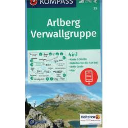 Kompass 33 Arlberg, Nördliche Verwallgruppe 1:50 000